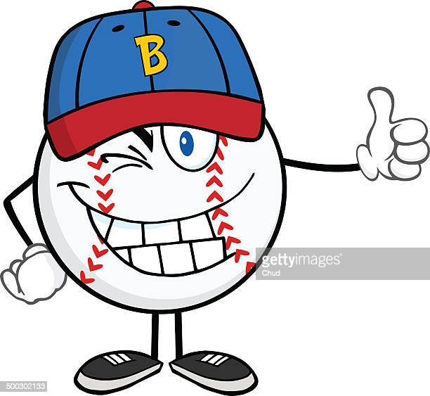 Winking baseball ball with cap holding a thumb up