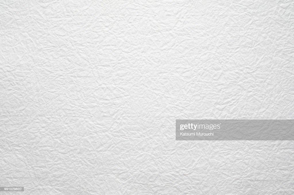 Winkled white Washi paper texture background : Stock Photo