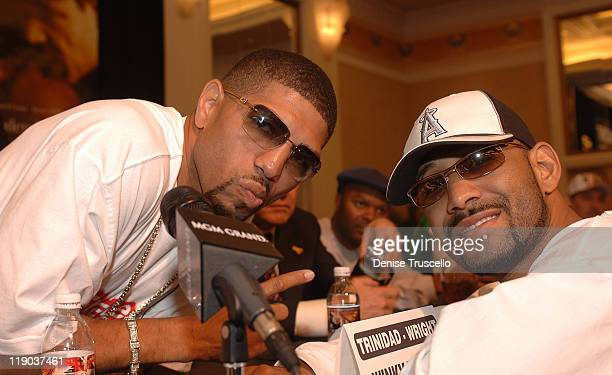 Winky Wright and Diego Corrales during WBC Middleweight Championship Felix Tito Trinidad vs Winky Wright Press Conference at MGM Grand Hotel and...