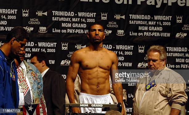 Winky Wright and Gary Shaw during Felix Tito Trinidad vs Winky Wright Weigh In for the WBC Middleweight Championship at MGM Grand Garden Arena in Las...
