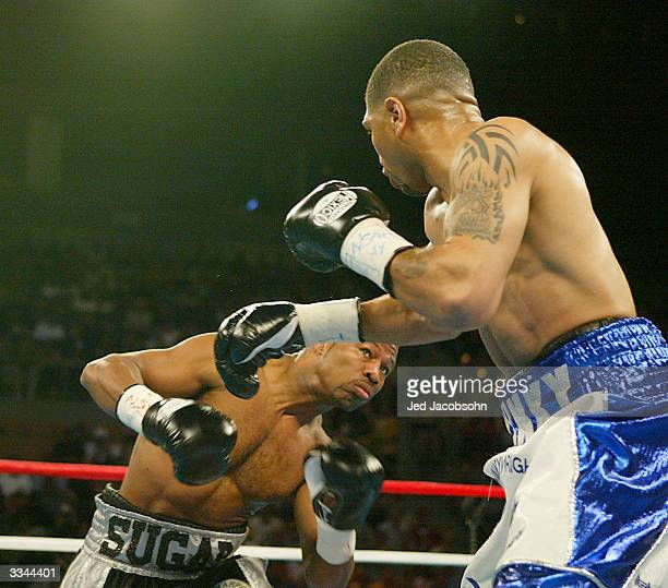 Winky Wright swings at Shane Mosley during the undisputed 154 pound championship on March 13, 2004 at Mandalay Bay Resort & Casino in Las Vegas,...