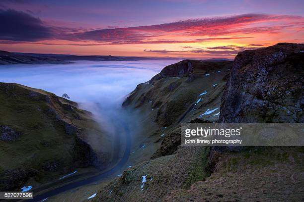 Winnats Pass and Hope valley at dawn. English Peak District. UK. Europe.
