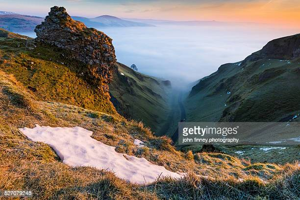 Winnats Pass and Hope valley at sunrise. English Peak District. UK. Europe.
