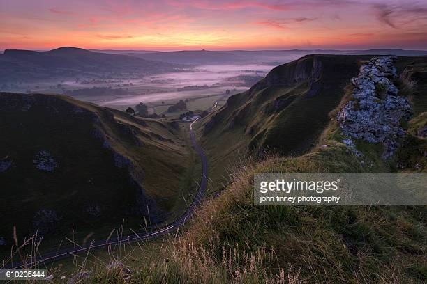 Winnats pass dawn. A stunning morning in the English Peak District. UK. Europe.