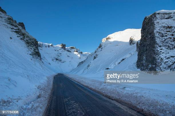 Winnats Pass on a snowy winter morning, Derbyshire, England