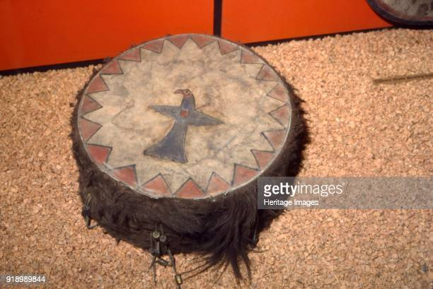 Winnebago Tribe North American Indian Double headed Drum Note the Bird possibly and Eagle with an arrow leading to the heart The Winnebago Tribe of...