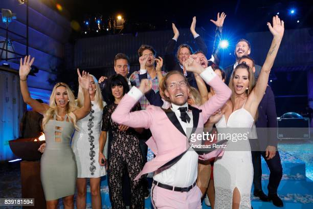 Winner 2017, Jens Hilbert, celebrates during the finals of 'Promi Big Brother 2017' at MMC Studio on August 25, 2017 in Cologne, Germany.