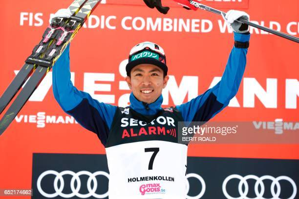 Winner Akito Watabe of Japan poses after the Nordic Combined Individual Gundersen LH / 10km event of the FIS Nordic Combined World Cup at the...