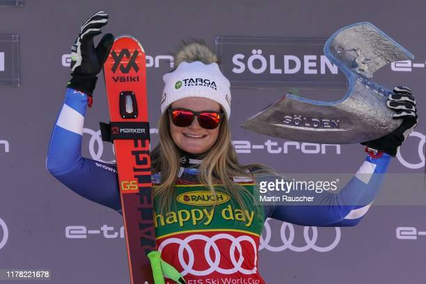 winner Alice Robinson of New Zealand at the flower ceremony of the Audi FIS Alpine Ski World Cup Women's Giant Slalom at Rettenbachferner on October...