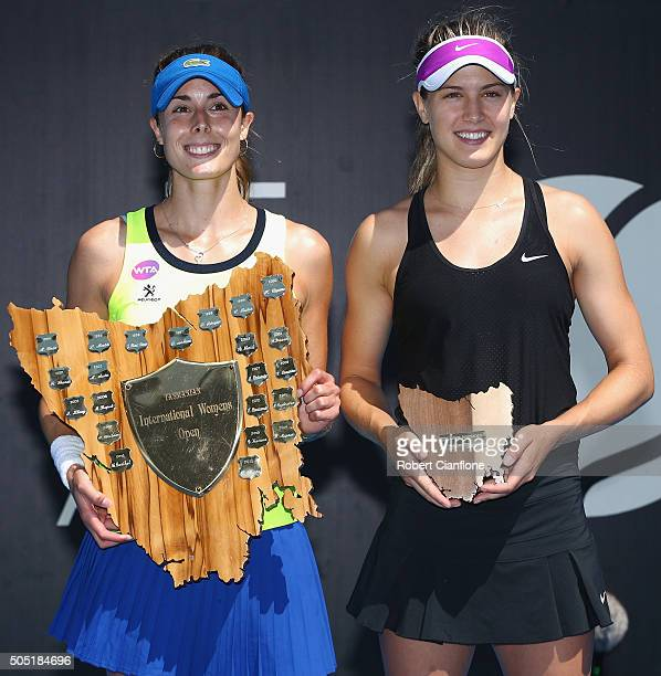 Winner Alizé Cornet of France and runner up Eugenie Bouchard of Canada pose after the singles finals match during the 2016 Hobart International at...
