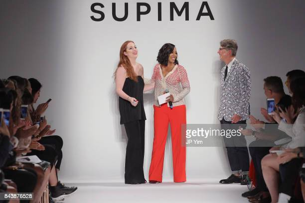 Winner Alyssa Wardrop FIT June Ambrose and Buxton Midyette attend Supima Design Competition SS18 runway show during New York Fashion Week at Pier 59...