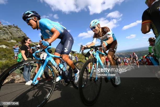 Winner Anacona Gomez of Colombia and Movistar Team / Tony Gallopin of France and Team AG2R La Mondiale / Alto de la Camperona / Fans / Public /...