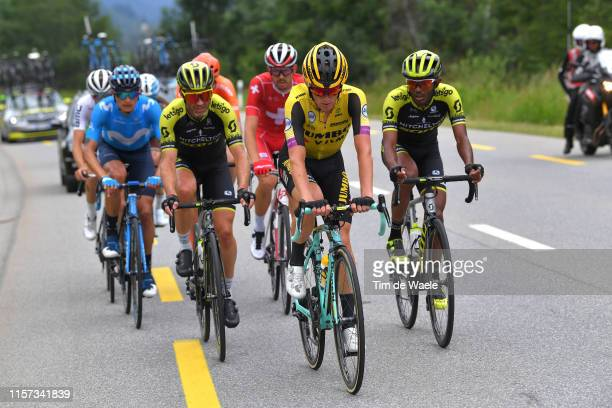 Winner Anacona of Colombia and Movistar Team / Michael Albasini of Switzerland and Team Mitchelton - Scott / Koen Bouwman of The Netherlands and Team...