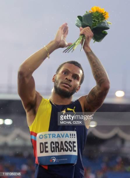 Winner Andre De Grasse of Canada celebrates after the 200m Men sprint of IAAF Golden Spike 2019 Athletics meeting in Ostrava on June 20 2019