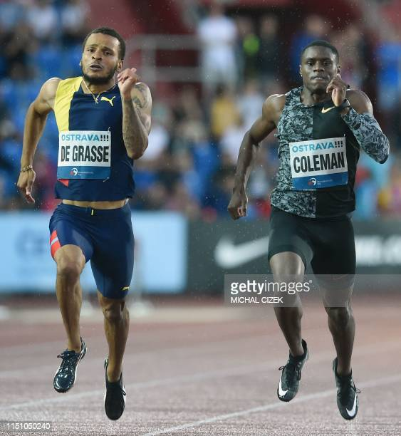 Winner Andre De Grasse of Canada finishes ahead of Christian Coleman of the USA during the 200m Men sprint of IAAF Golden Spike 2019 Athletics...