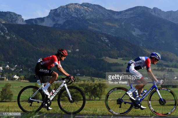 Winner Andrew Anacona of Colombia and Team Arkea - Samsic / Romain Sicard of France and Team Total Direct Energie / during the 107th Tour de France...