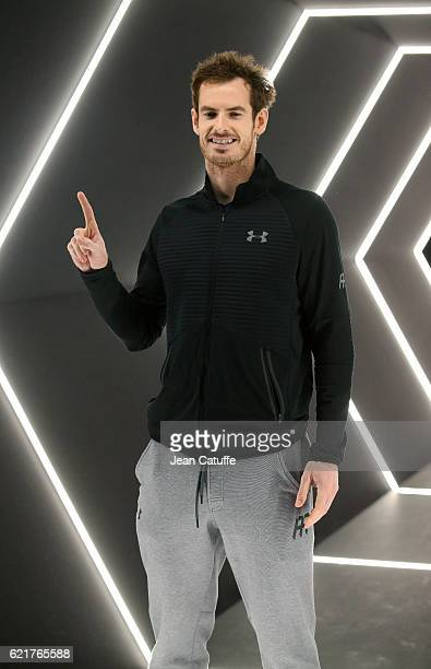 Winner Andy Murray of Great Britain celebrates becoming the number one tennis player in the world following the final of the Paris ATP Masters Series...