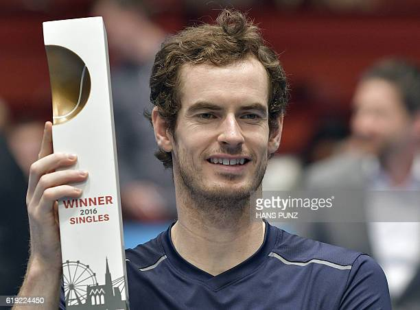 Winner Andy Murray of Great Britain poses after the final match against JoWilfried Tsonga of France at the ATP Erste Bank Open Tennis tournament in...
