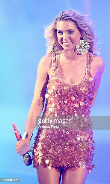Winner Aneta Sablik performs on stage during the final of 'Deutschland sucht den Superstar' show at Coloneum on May 3 2014 in Cologne Germany