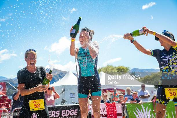 Winner Annabel Luxford is sprayed with champagne by runner up Laura Siddall of GB and 3rd place getter Amelia Watkinson of NZ during 2018 Challenge...