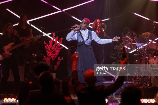 Winner Arlo Parks performs live on stage during the Hyundai Mercury Music Prize 2021at Eventim Apollo, Hammersmith on September 09, 2021 in London,...