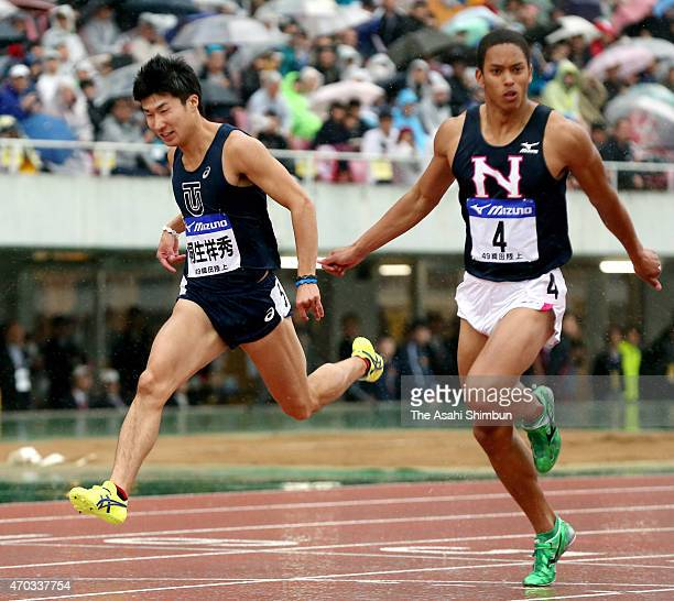 winner Aska Cambridge and Yoshihide Kiryu react after competing in the Men's 100m Final during day two of the Mikio Oda Memorial International...