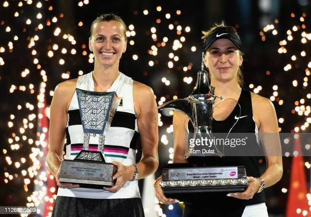 Winner Belinda Bencic of Switzerland and runner up Petra Kvitova of Czech Republic pose with the trophies after thier Final Match on day seven of the...