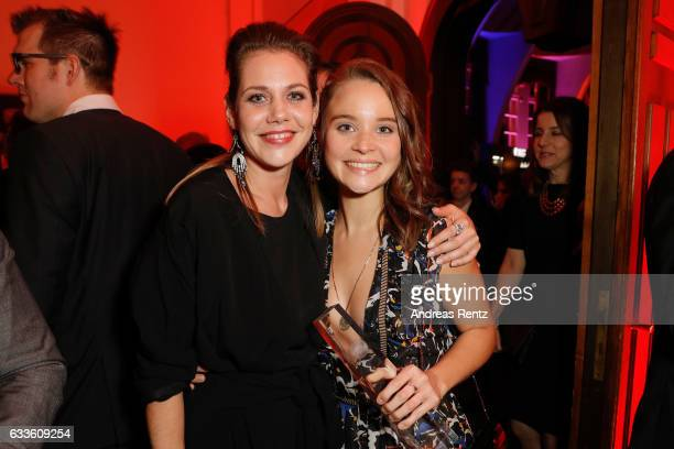 Winner best actress Sonja Gerhardt and Felicitas Woll attend the German Television Award at Rheinterrasse on February 2 2017 in Duesseldorf Germany