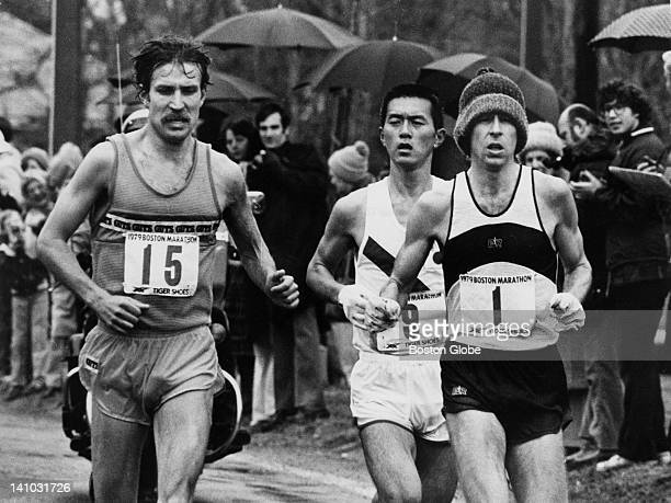 Winner Bill Rodgers passes G Bjorklund to take lead in the hills of Newton during the Boston Marathon on April 16 1979 Toshihiko Seko finished second