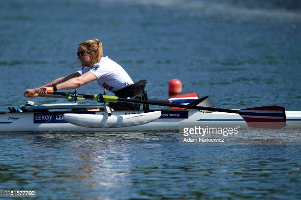 Winner Birgit Skarstein from Norway competes in Para Rowing PR1 Women's Single Sculls during 2019 World Rowing Cup II on June 23 2019 in Poznan Poland