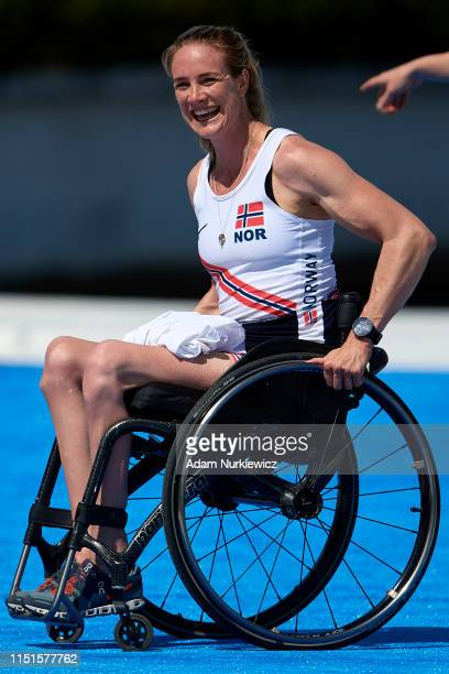 Winner Birgit Skarstein from Norway smiles while awarding ceremony Para Rowing PR1 Women's Single Sculls during 2019 World Rowing Cup II on June 23...