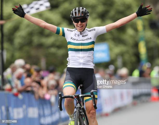 Winner Brodie Chapman AUS KordaMentha Real EstateAustralia Team during stage 1 of the Women's 2018 Herald Sun Jayco Tour 1235km Road Race Healesville...