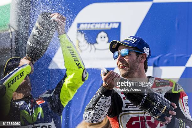 Winner Cal Crutchlow of LCR Honda sprays champagne during 2016 MotoGP motorcycle race of Australia at the Phillip Island Grand Prix Circuit Phillip...