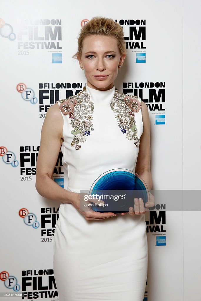 Winner Cate Blanchett poses with her BFI Fellowship Award as she attends the BFI London Film Festival Awards at Banqueting House on October 17, 2015 in London, England.