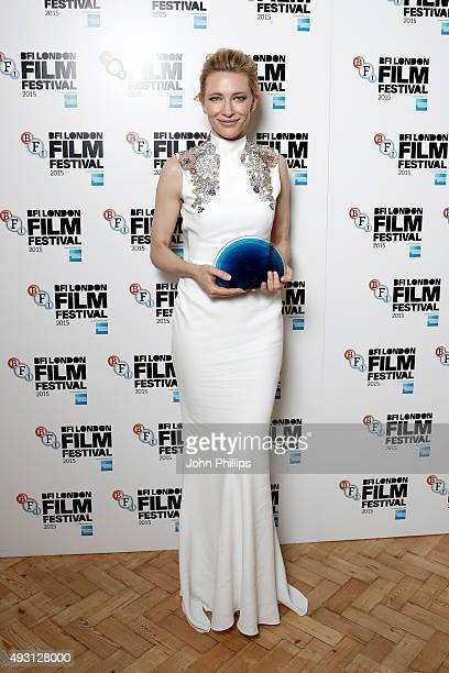Winner Cate Blanchett poses with her BFI Fellowship Award as she attends the BFI London Film Festival Awards at Banqueting House on October 17 2015...