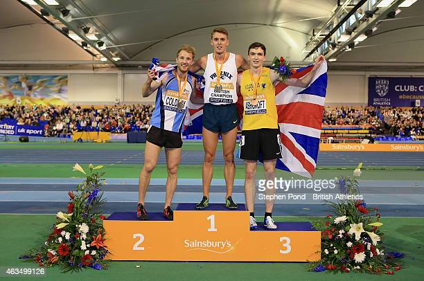 Winner Charlie Grice of Great Britain second place Ben Coldray of Great Britain and third place John Ashcroft of Great Britain pose with their medals...