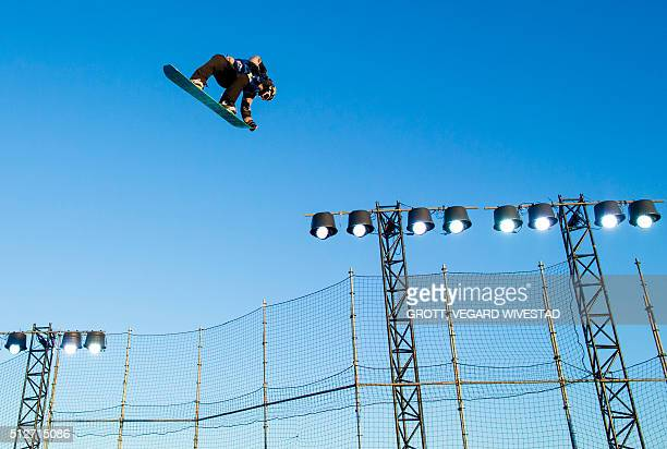 Winner Cheryl Maas from Netherlands performs during the Big Air women free ski competition at X Games Oslo 2016 on February 27 2016 in Oslo / AFP /...