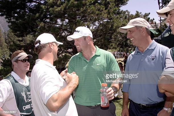 Winner Chris Chandler stands with Trent Dilfer and Al Del Greco at the American Century Celebrity Golf Tournament at the Edgewood Tahoe Golf Course...