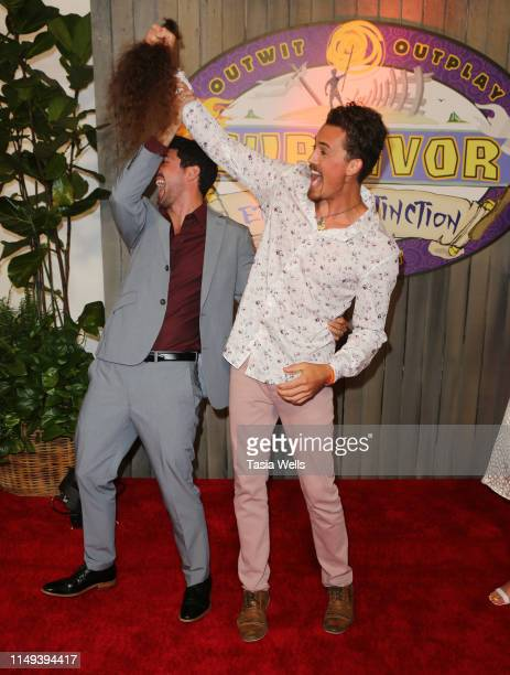 """Winner Chris Underwood and Joe Anglim, after cutting his hair, attend the Red Carpet Event for CBS' """"Survivor"""" Finale at CBS Studio Center on May 15,..."""