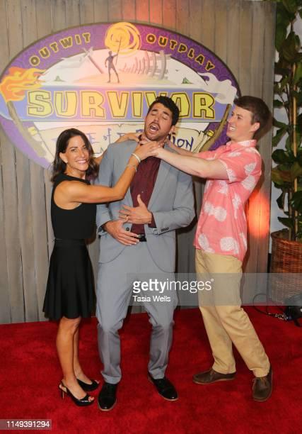 "Winner Chris Underwood with runner ups Julie Rosenberg and Gavin Whitson attend the Red Carpet Event for CBS' ""Survivor"" Finale at CBS Studio Center..."