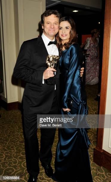 Winner Colin Firth and wife Livia Giuggioli arrive at the dinner following the Orange British Academy Film Awards at Grosvenor House on February 13...