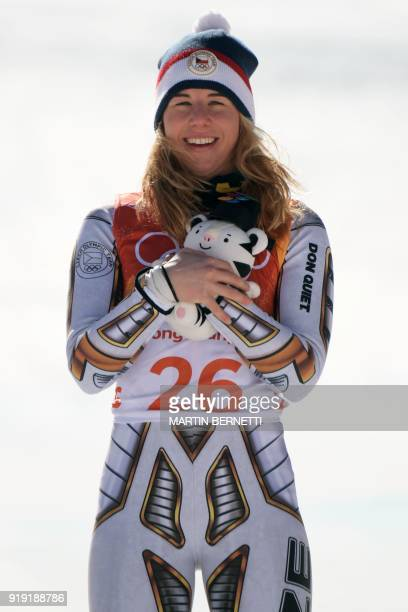 Winner Czech Republic's Ester Ledecka celebrates on the podium during the victory ceremony of the Women's SuperG at the Jeongseon Alpine Center...