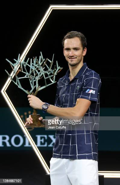 Winner Daniil Medvedev of Russia during the trophy ceremony following the men's final on day 7 of the Rolex Paris Masters, an ATP Masters 1000...