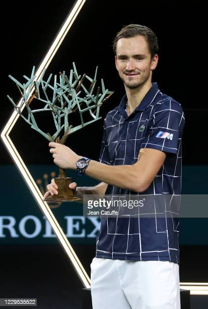 Winner Daniil Medvedev of Russia during the trophy ceremony of the Men's Final after beating Alexander Zverev of Germany on day 7 of the Rolex Paris...