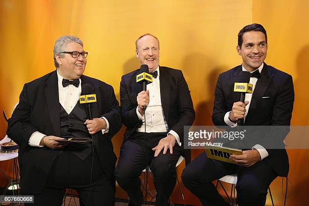 Winner David Mande actor Matt Walsh and host Dave Karger attend IMDb Live After The Emmys presented by TCL on September 18 2016 in Los Angeles...