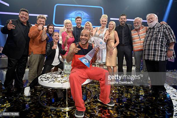 Winner David Odonkor and the other participants pose for the media after the final show of Promi Big Brother 2015 at MMC studios on August 28 2015 in...