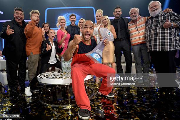 Winner David Odonkor and the other participants react after the final show of Promi Big Brother 2015 at MMC studios on August 28, 2015 in Cologne,...
