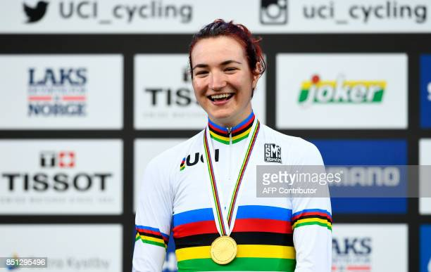 Winner Elena Pirrone of Italy celebrates on the podium after the UCI Cycling Road World Championships Women Junior Road Race in Bergen on September...