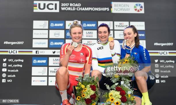 Winner Elena Pirrone of Italy silver medalist Emma Cecilie Norsgaard Jorgensen of Denmark and bronze medalist Letizia Paternoster of Italy celebrate...