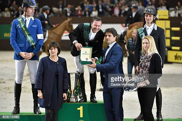 Winner Eric Lamaze of Canada Steve Guerdat of Switzerland and Christian Ahlmann of Germany in the 16th Rolex IJRC Top 10 Final International Jumping...